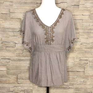Warehouse One taupe-grey peasant blouse